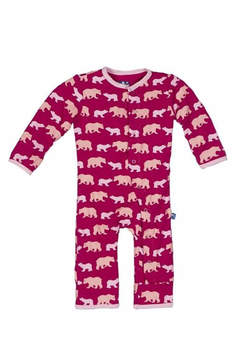 Kickee Pants Coverall Rhododendron Bear