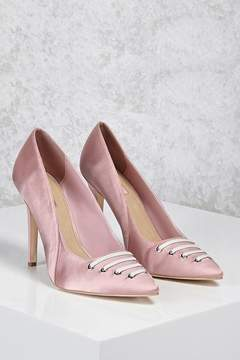 Forever 21 Satin Lace-Front Pumps