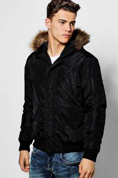 boohoo Black Short Parka With Faux Fur Hood
