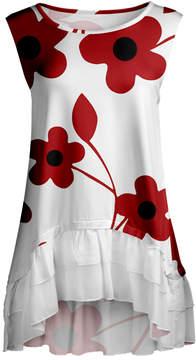 Lily White & Red Floral Ruffle-Hem Sleeveless Tunic - Women & Plus