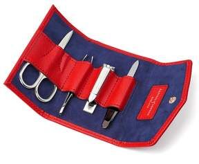 Aspinal of London Ladies Manicure Set In Scarlet Saffiano