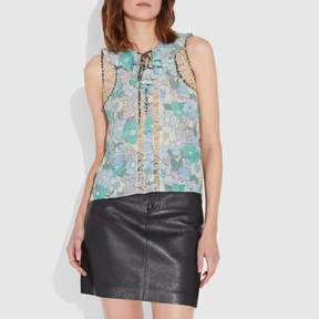 Coach New YorkCoach Floral Button Print Frill Top