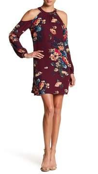 Charles Henry Cold Shoulder Floral Print Dress