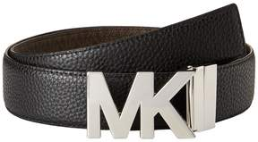 MICHAEL Michael Kors 38mm Reversible Pebble to Logo Belt on MK Plaque Buckle Women's Belts