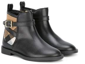 Burberry House Check panel ankle boots