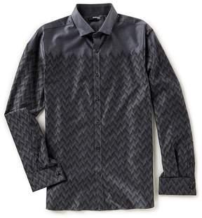 Murano Slim-Fit Herringbone Placed Jacquard Shirt
