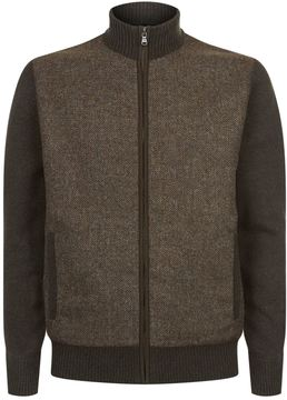 Hackett Zip-Through Tweed Cardigan
