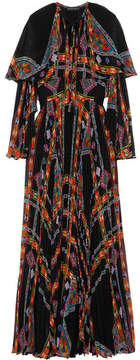 Etro Cape-effect Printed Plissé Silk-chiffon Gown - Black