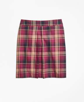 Brooks Brothers Cotton and Wool Blend Plaid Skirt