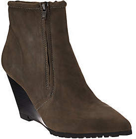Halston H by Leather Double Zipper Wedge AnkleBoots - Hal