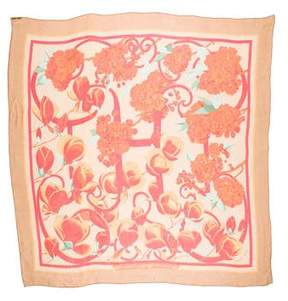 Hermes Fleurs et Balcon Silk Mousseline Shawl