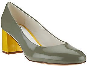 Isaac Mizrahi Live! Patent Leather Pumps w/Contrast Heel