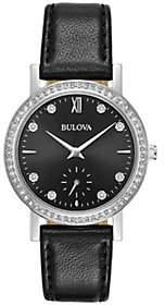 Bulova Women's Crystal Watch with Black LeatherStrap