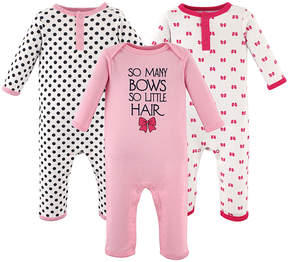 Hudson Baby Pink Polka Dots & Bows 'So Many Bows So Little Hair' Playsuit Set - Infant