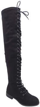 Wild Diva Black Oksana Lace-Up Boot