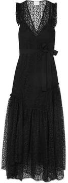 Alice McCall Reflection Asymmetric Corded Lace Maxi Dress - Black