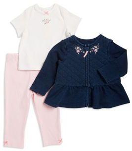 Little Me Baby's Three-Piece Jacket Top & Leggings Set