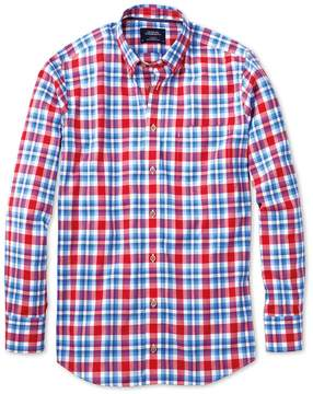 Charles Tyrwhitt Slim Fit Button-Down Poplin Sky Blue and Red Check Cotton Casual Shirt Single Cuff Size Small