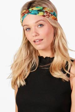 boohoo Laura Watercolour Effect Turban Headband