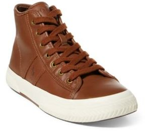 Ralph Lauren Tremayne Nappa Leather Sneaker Deep Polo Tan 10.5