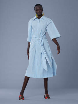 Diane von Furstenberg Sleeve Cotton Belted Shirtdress