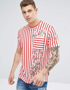 Jaded London T-Shirt In Red Stripes With Floral Print