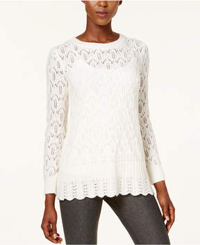 Cable & Gauge Embellished Pointelle Sweater