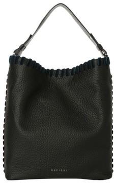 Orciani Noona Velvet Trim Calfskin Leather Tote - Black
