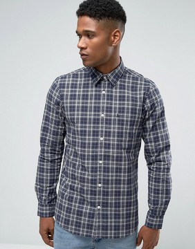 Jack Wills Poplin Shirt In Regular Fit In Check Navy/Gray