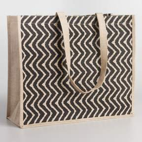 World Market Black Chevron Jute Tote Bag
