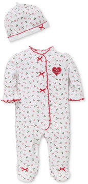 Little Me 2-Pc. Candy Cane-Print Hat & Footed Coverall Set, Baby Girls (0-24 Months)