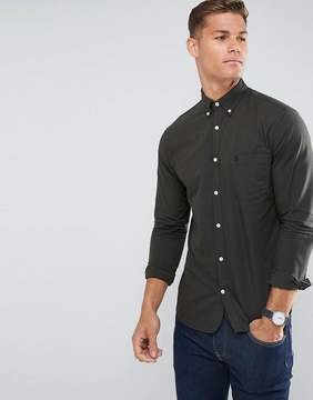 Selected Regular Fit Oxford Shirt With Embroidered Badge