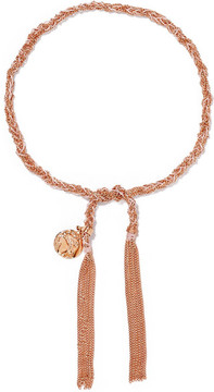 Carolina Bucci Globe Lucky 18-karat Rose Gold And Silk Bracelet