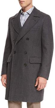 Isaia Double-Breasted Herringbone Wool Topcoat