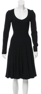Alaia Long Sleeve Fit and Flare Dress