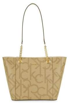 Calvin Klein Monogram Chainlink Leather Tote