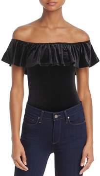 Cotton Candy Velvet Off-the-Shoulder Bodysuit