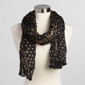 World Market Black and Gold Scarf