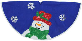 Asstd National Brand 20 Blue and White Mini Christmas Tree Skirt with Embroidered and Embellished Snowman