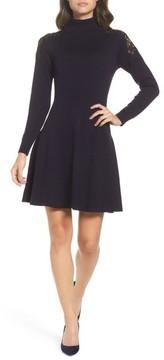 Eliza J Women's Lace Shoulder Turtleneck Sweater Dress