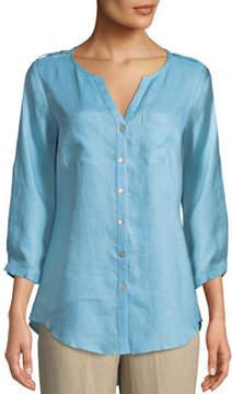 Go Silk V-Neck Button-Front Linen Tunic
