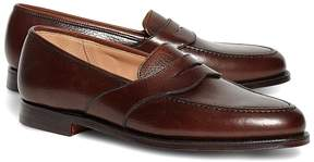 Brooks Brothers Peal & Co.® Dark Brown French Pebble Leather Saddle Strap Penny Loafers