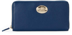 Roberto Cavalli Blue Leather Logo Plate Wallet
