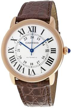 Cartier Ronde Solo de XL Automatic Silver Dial 18 kt Rose Gold Men's Watch