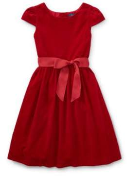 Ralph Lauren Corduroy Fit-And-Flare Dress Holiday Red 3T