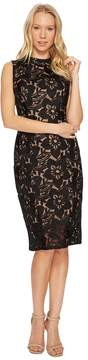 Adrianna Papell Lace Mock Neck Sheath Dress Women's Dress