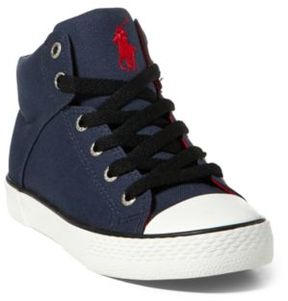 Ralph Lauren Colton Canvas High-Top Sneaker Navy/Red 10.5