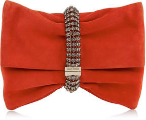 Jimmy Choo CHANDRA/M Fire Suede Clutch Bag with Maxi Crystal Bracelet