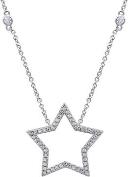 Crislu CZ Pave Open Star Pendant Necklace