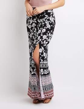 Charlotte Russe Border Print Side Slit Maxi Skirt